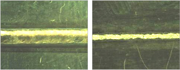 Figure 4: c) Top surface of weld bead; d) Bottom surface of weld bead Samples were welded with zero nominal gap