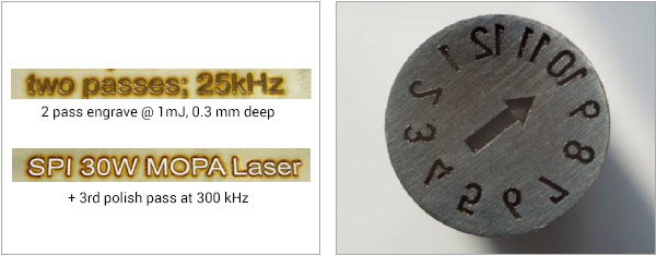 Figure 2: Stainless Steel engraving with 30W Laser. Figure 3. Precision deep metal engraving - Sample supplied by ACSYS Lasertechnik GmbH.