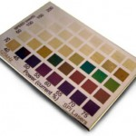 Figure 2: Colour swatches, on stainless steel, made at 125 kHz showing the effect of scan speed and average power – marked with an SPI fiber laser.