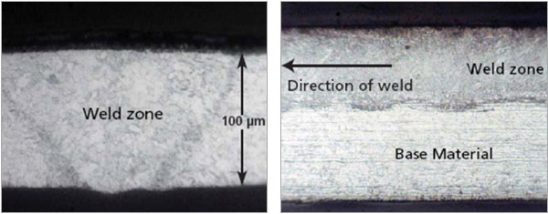 Figure 1: Welding speed: 2.5m/min, 30 Watts. Figure 2: Showing very even partial penetration weld at 30 Watts.