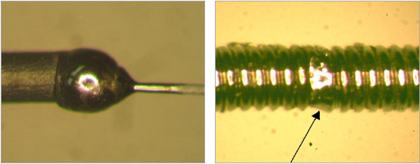 Figure 3: Welding tungsten wire onto kovar pin. 30W, single 20ms pulse. Figure 4: Fine guage coil welding steel wires 20W, single 5ms pulse.