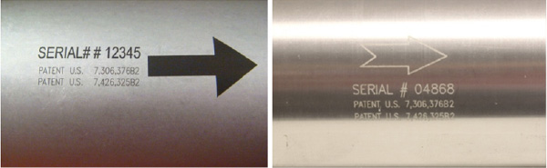 Figure 7. Comparison of Dark mark made with 20W redENERGY HS on curved clear anodised component 44mmØ with standard engrave type mark made with 20W redENERGY RM laser.