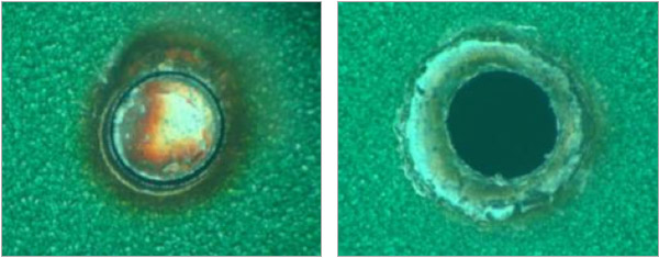 Figure 1. Left: 20W SM - M2 <1.3 2s cycle time low paint damage, Right: 40W HM - M2 3.2 cycle time <0.5s some paint burn back