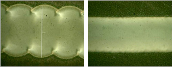 20W;25kHz WF0 1m/s scan speed 163mmf-theta lens 80µm scribe width