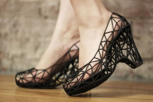 An example of 3D printing used to create these shoes.