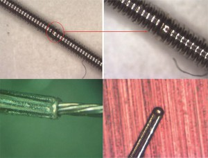 Top: 50μm wire to wire weld with 20W EP-Z at 250kHz, Bottom right: braid to wire weld using 40W HS-H, Bottom left: thermocouple welded with 20W EP-S