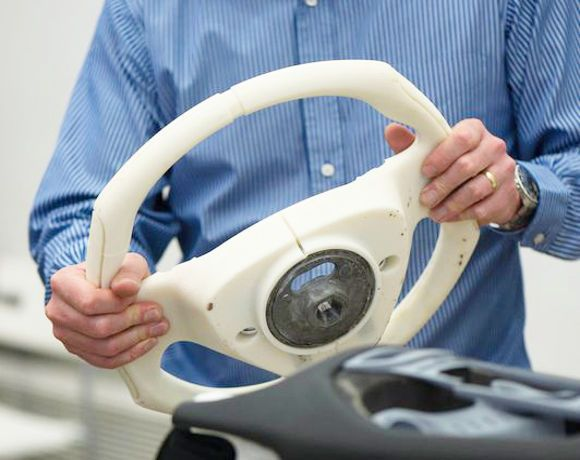 3D printed steering wheel, just one example use of Additive Manufacturing in the automotive industry