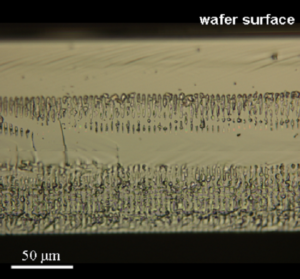 A stealth diced silicon wafer